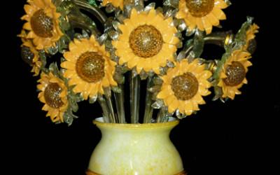 Vetreria Busato Glasses - applique girasoli impressionismo