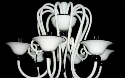Vetreria Busato Glasses - Lampadario bianco e nero moderno