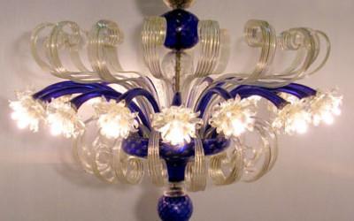 Plafoniera Fiori Murano : Grande plafoniera nove luci in ferro battuto con vetro stilo