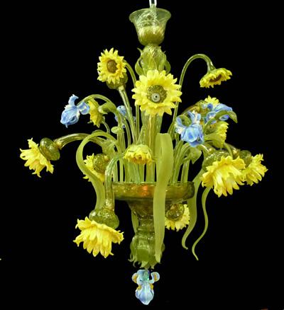 Vetreria Busato Glasses - Lampadario girasoli e iris