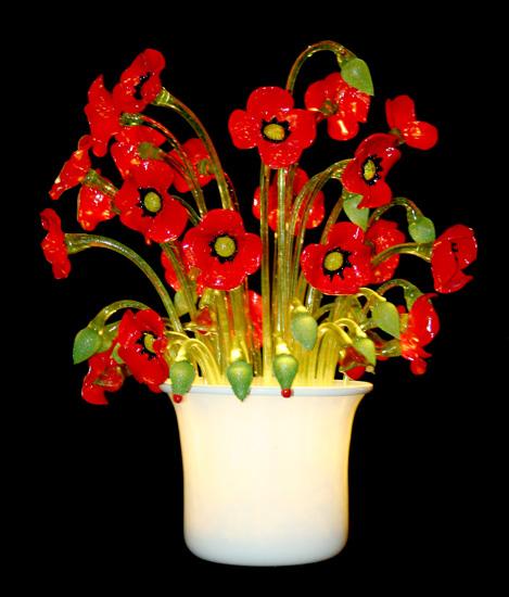 Vetreria Busato Glasses - Lampada da tavolo con papaveri