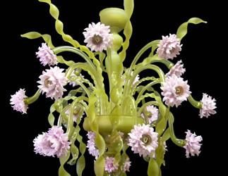 Vetreria Busato Glasses - Lampadario nastri verdi fiori di luce