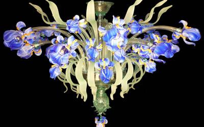 Vetreria Busato Glasses - plafoniera iris azzurri fiori di luce