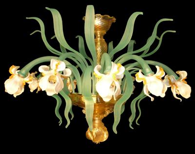 Plafoniera Fiori : Plafoniera iris bianchi in vetro di murano