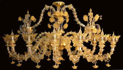 Vetreria Busato Glasses - Lampadario Rezzonico diamante dorato