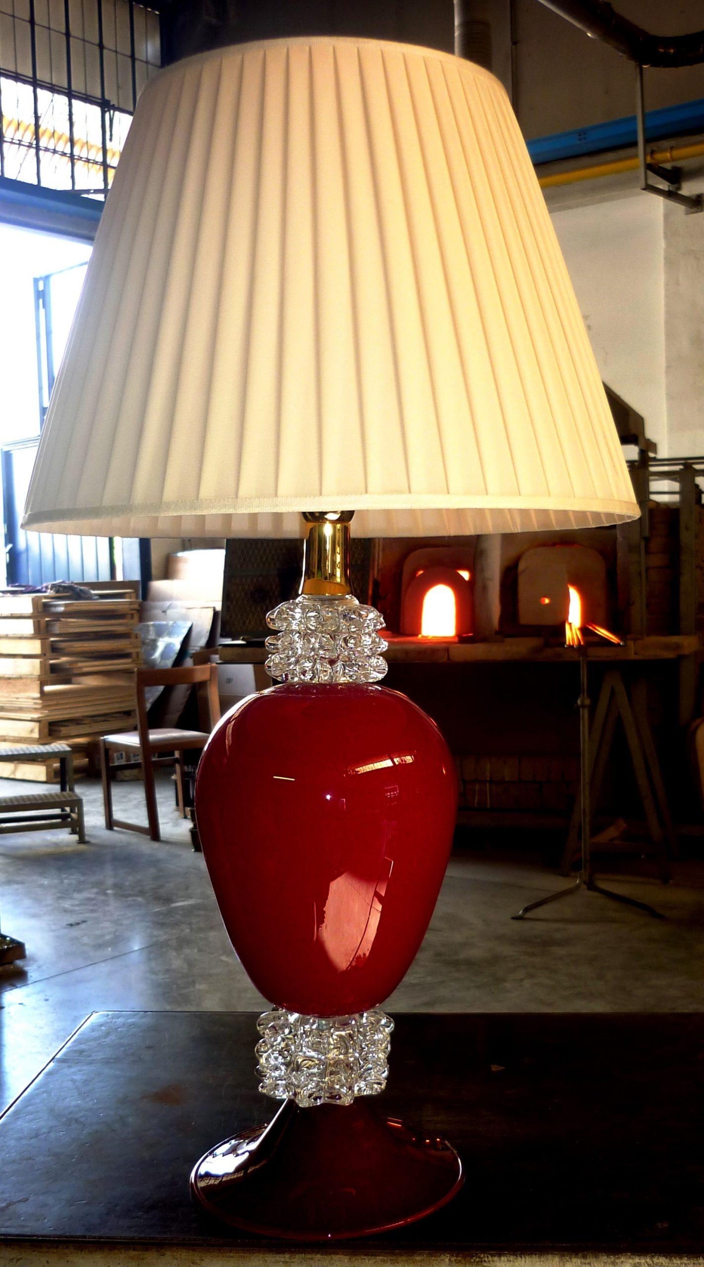 Lampada da tavolo cristallo e rosso