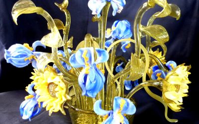 Vaso lampada Iris e girasoli