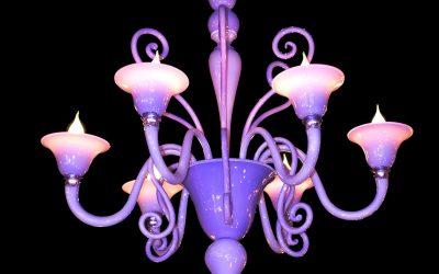 Lampadario Riccio lilla